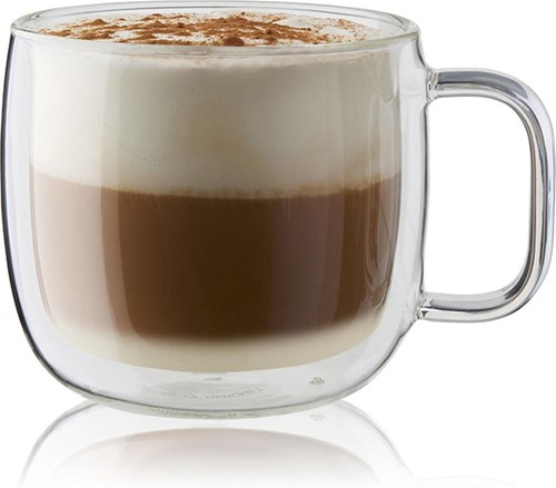 ZWILLING Sorrento Dubbelwandig glas met greep, Cappuccino 2 pcs