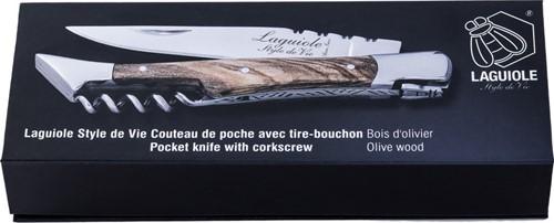 LAGUIOLE Zakmes Olijfhout met kurkentrekker 2,5 mm