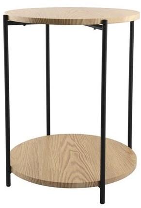 DAY 731192 Bijzettafel met dubbel houten blad D:40cm H:50cm