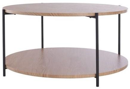 DAY 751178 Salontafel met dubbel houten blad D:70cm H:35cm