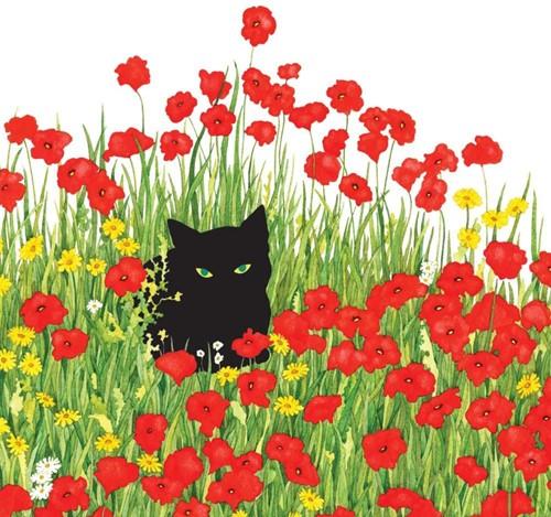 PPD Serviet 25x25 Black Cat Poppies