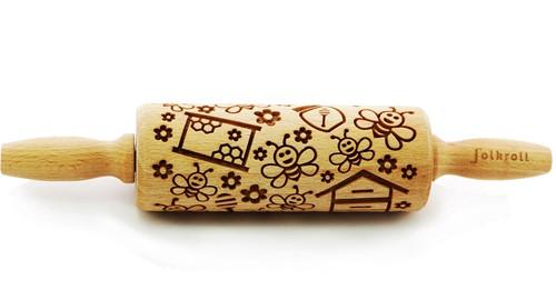 FOLKROLL Decoratie-deegrol 23cm Bees hout