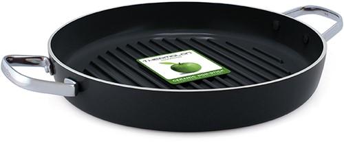 GREENPAN Essentials Grillpan rond 28cm m/2 ZH (zwart)
