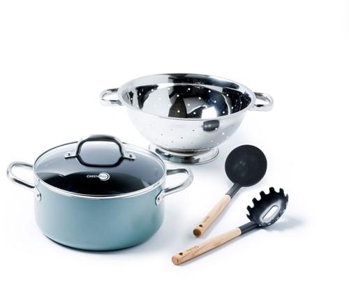 GREENPAN Mayflower SET 4 : kookpot 24cm + vergiet + pastalepel + pollepel
