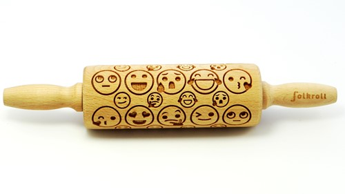 FOLKROLL Decoratie-deegrol 23cm Emoticons hout