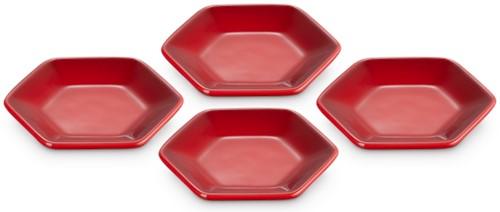 Le Creuset Farm Fresh Hexagon serveerschaaltjes (4 stuks) Kersenrood