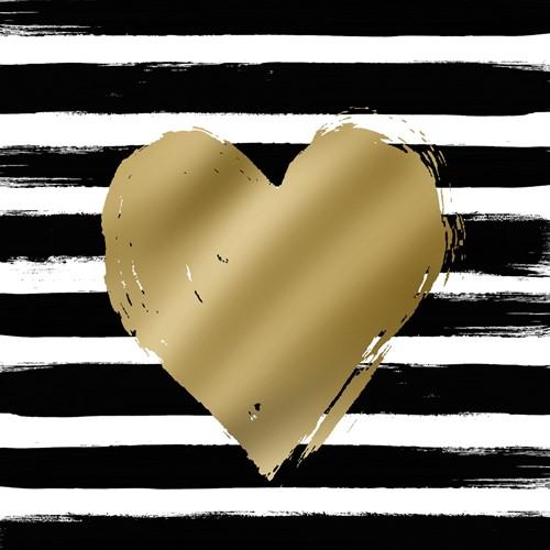 PPD Heart & Stripes black/gold 33x33cm