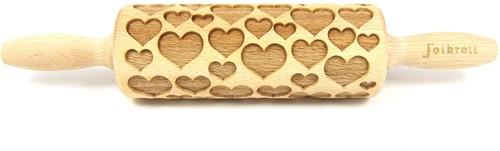 FOLKROLL Decoratie-deegrol 23cm Hearts hout