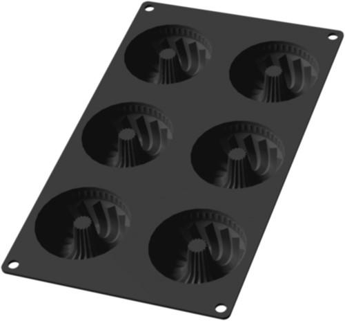LEKUE LK-0621806N01 bakvorm uit silicone voor 6 mini tulbandvormen zwart Ø 7.1cm H 3.5cm