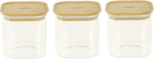 PEBBLY Set of 3 square glass stacking canisters - 800 ml