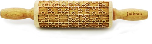 FOLKROLL Decoratie-deegrol 23cm Puzzle hout