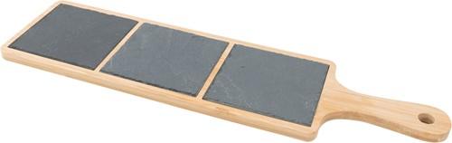 POINT VIRGULE PVBAM1161 Serveerplank uit Bamboe en leisteen met handvat 44x12x1cm